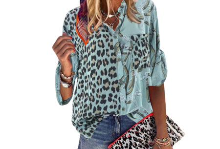 Panterprint blouse | Dames blouse met stoere print Turqoise