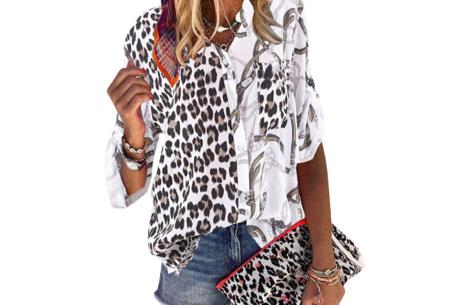 Panterprint blouse | Dames blouse met stoere print Wit