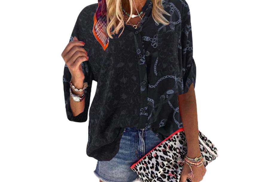 Panterprint blouse - Zwart - Maat XS