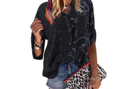Panterprint blouse | Dames blouse met stoere print Zwart