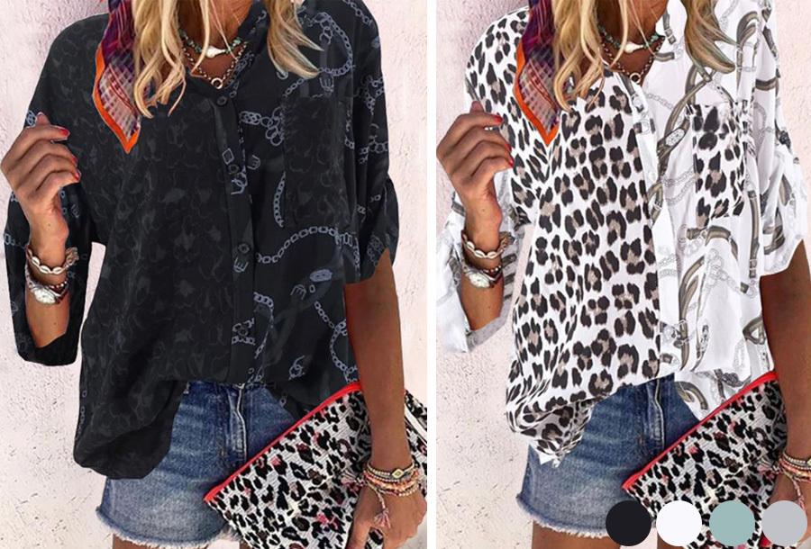 Panterprint blouse nu in de sale