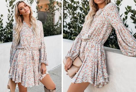 Blousejurk met pofmouwen | Trendy korte jurk in 7 printjes E