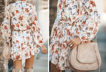Blousejurk met pofmouwen | Trendy korte jurk in 7 printjes D