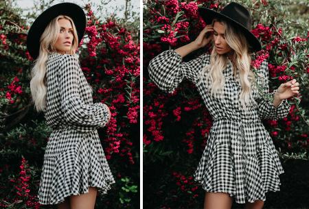Blousejurk met pofmouwen | Trendy korte jurk in 7 printjes C