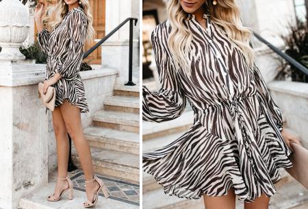 Blousejurk met pofmouwen | Trendy korte jurk in 7 printjes B