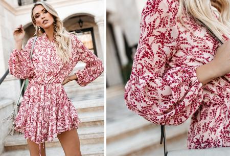 Blousejurk met pofmouwen | Trendy korte jurk in 7 printjes A