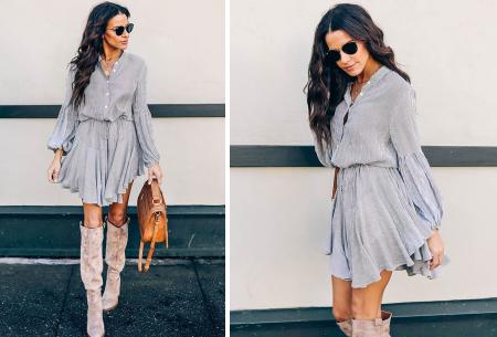Blousejurk met pofmouwen | Trendy korte jurk in 7 printjes F