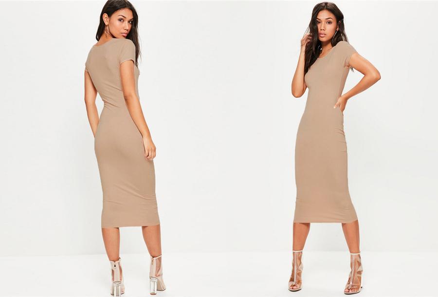 Basic midi jurk - Maat XS/S - Khaki