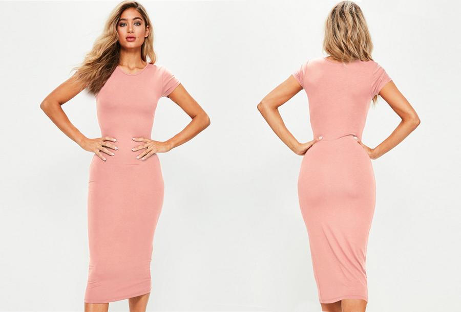 Basic midi jurk - Maat L/XL - Roze