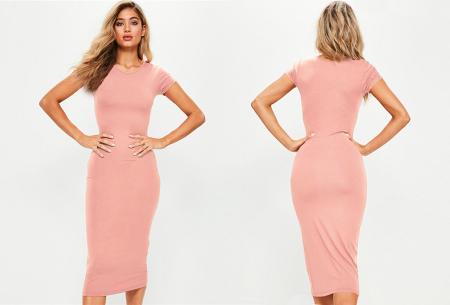Basic midi jurk | Stretchy T-shirt jurk voor alle gelegenheden - In 9 kleuren! Roze