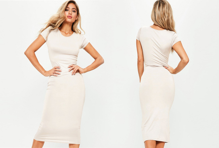 Basic midi jurk | Stretchy T-shirt jurk voor alle gelegenheden - In 9 kleuren! Wit