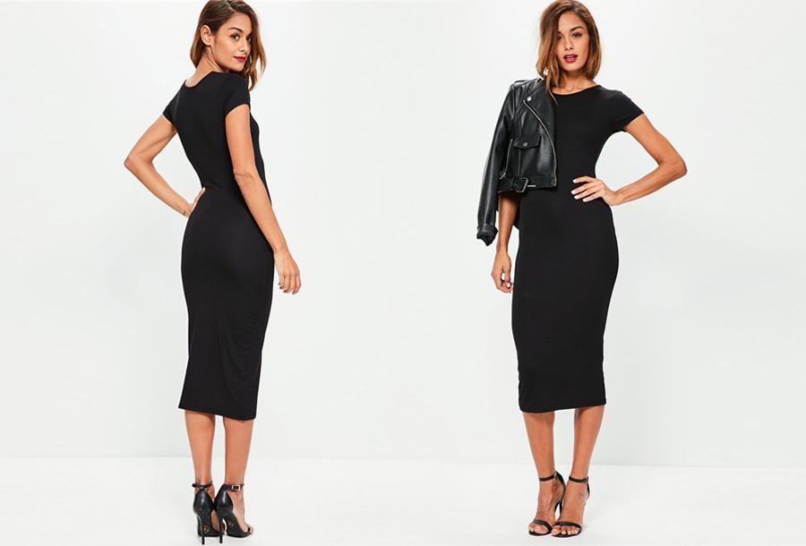 Basic midi jurk - Maat S/M - Zwart