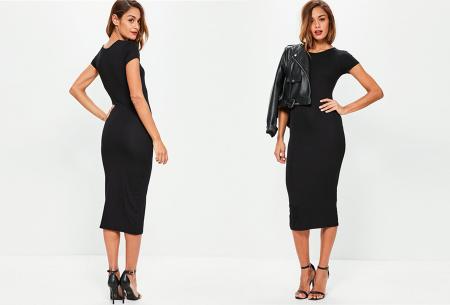 Basic midi jurk | Stretchy T-shirt jurk voor alle gelegenheden - In 9 kleuren! Zwart