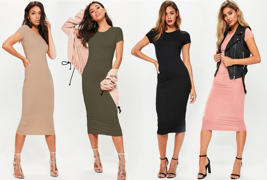 Basic midi jurk in de sale!