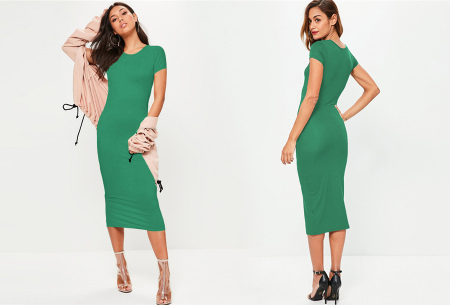 Basic midi jurk | Stretchy T-shirt jurk voor alle gelegenheden - In 9 kleuren! Groen