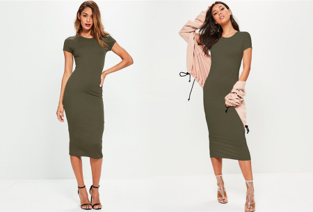 Basic midi jurk | Stretchy T-shirt jurk voor alle gelegenheden - In 9 kleuren! Legergroen