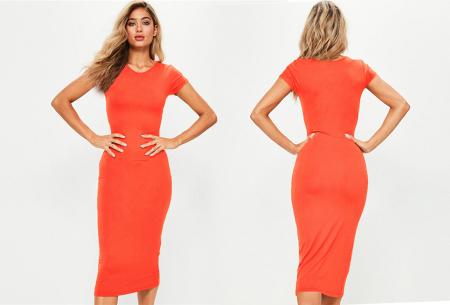 Basic midi jurk | Stretchy T-shirt jurk voor alle gelegenheden - In 9 kleuren! Oranje
