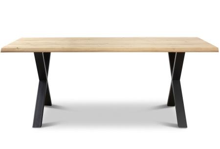 Eikenhouten eettafel van Woodcraft   Industriële tafel met stalen poten