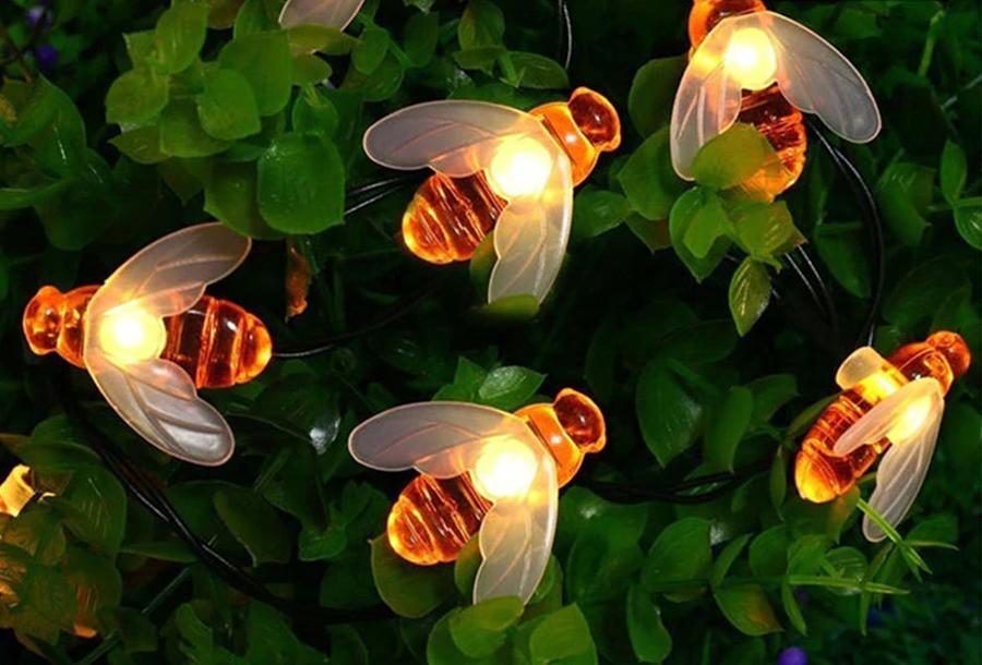 Solar led-lichtslinger met bloemen of bijen Bijtjes - warm wit licht - 7 meter