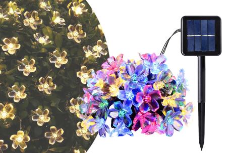 Solar led-lichtslinger met bloemen of bijen | Gezellige buitenlampen op zonne-energie Bloemetjes