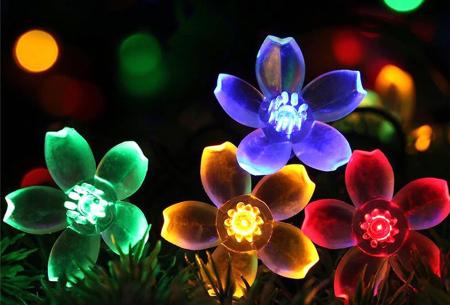 Solar led-lichtslinger met bloemen of bijen | Gezellige buitenlampen op zonne-energie Gekleurd