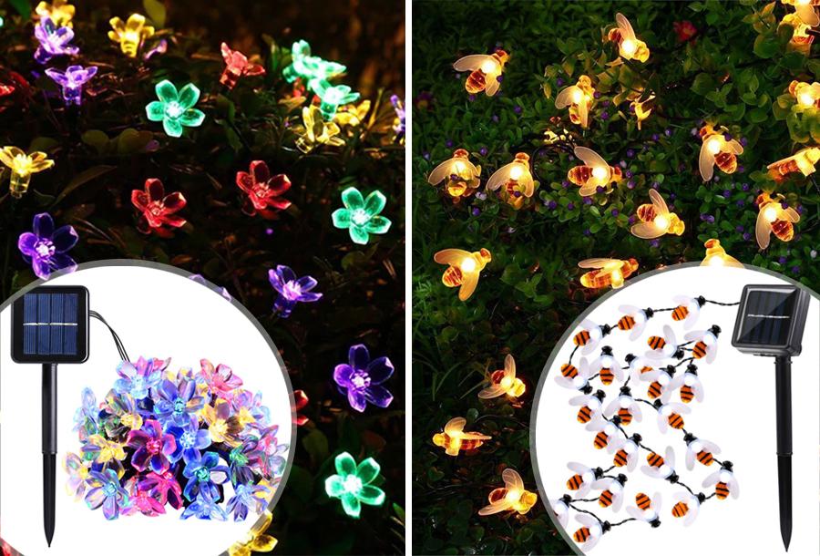Solar LED lichtslinger met bloemen of bijen - SALE