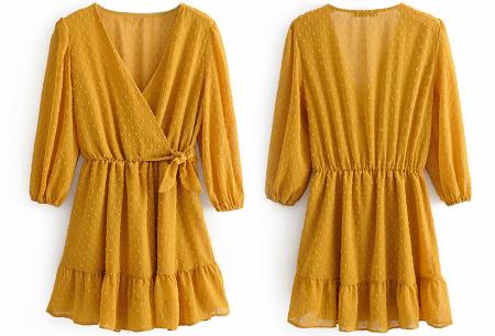 Playsuit jurkje | Hippe zomerjurk van luchtige blousestof Okergeel