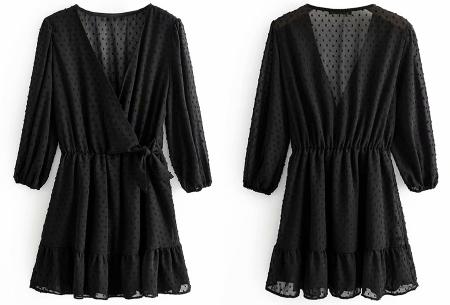 Playsuit jurkje | Hippe zomerjurk van luchtige blousestof Zwart