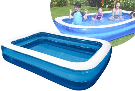 Opblaasbaar zwembad voor jong en oud   Rechthoekige opblaaszwembaden voor in de tuin - in 2 formaten