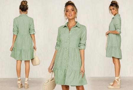 Blousejurk van ribstof | Topkwaliteit jurk in de sale! Groen