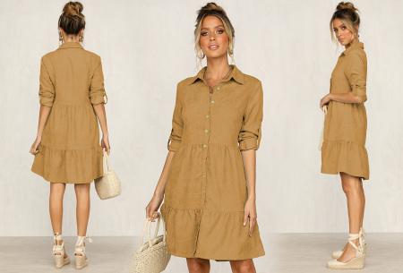Blousejurk van ribstof | Topkwaliteit jurk in de sale! Khaki