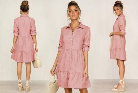 Blousejurk van ribstof | Topkwaliteit jurk in de sale! Roze