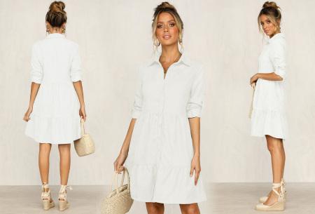 Blousejurk van ribstof | Topkwaliteit jurk in de sale! Wit