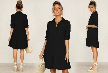 Blousejurk van ribstof | Topkwaliteit jurk in de sale! Zwart