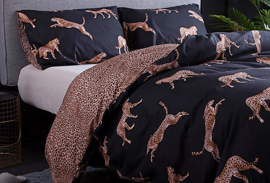 Reversible dekbedovertrek Maat 240 x 220 cm - #1 - Leopard
