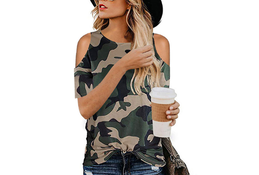Open schouder top - Maat S - Camouflage