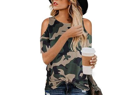 Trendy T-shirt met print | Open schouder top - In 6 printjes  Camouflage