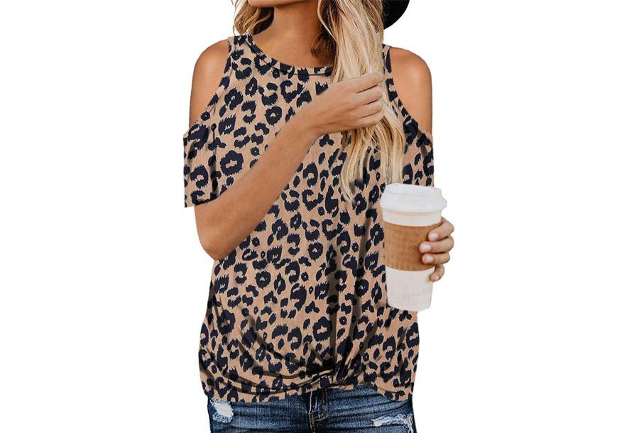 Open schouder top - Maat L - Coffee