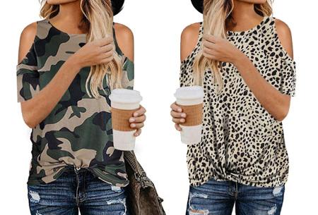 Trendy T-shirt met print | Open schouder top - In 6 printjes