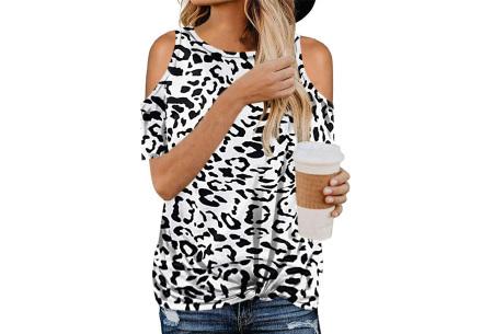 Trendy T-shirt met print | Open schouder top - In 6 printjes  Wit