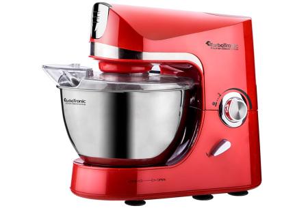 TurboTronic Pro-Mix keukenmachine   Multifunctionele mixer voor brood, taart en meer Rood