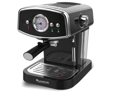 TurboTronic espressomachine | Luxe koffiezetapparaat met retro design zwart