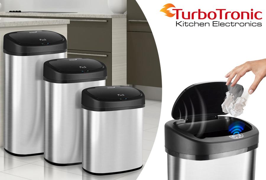 TurboTronic prullenbak met sensor in de aanbieding