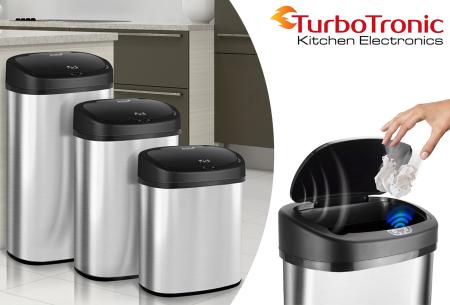 TurboTronic prullenbak met sensor | RVS vuilnisbak met handig geurfilter - In 3 maten