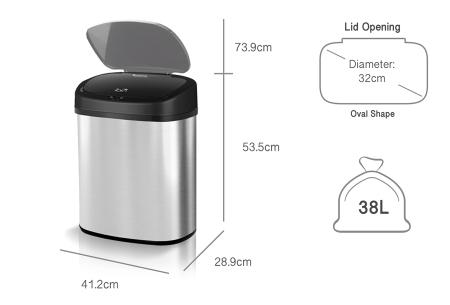 TurboTronic prullenbak met sensor | RVS vuilnisbak met handig geurfilter - In 3 maten 38 liter