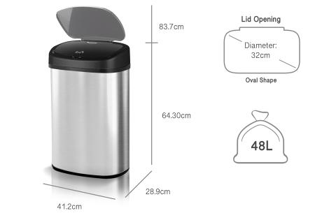 TurboTronic prullenbak met sensor | RVS vuilnisbak met handig geurfilter - In 3 maten 48 liter