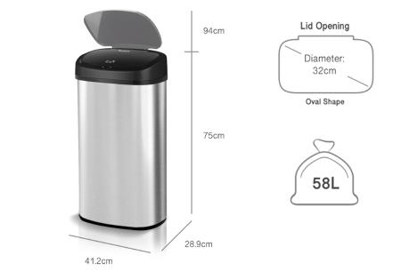 TurboTronic prullenbak met sensor | RVS vuilnisbak met handig geurfilter - In 3 maten 58 liter