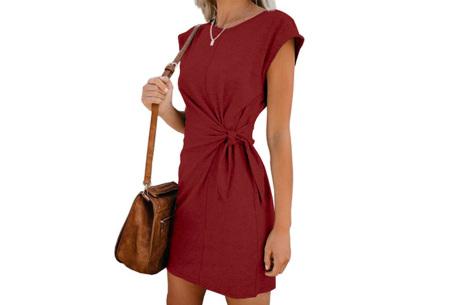 Basic zomerjurk | Strik jurk in 5 hippe kleuren Wijnrood