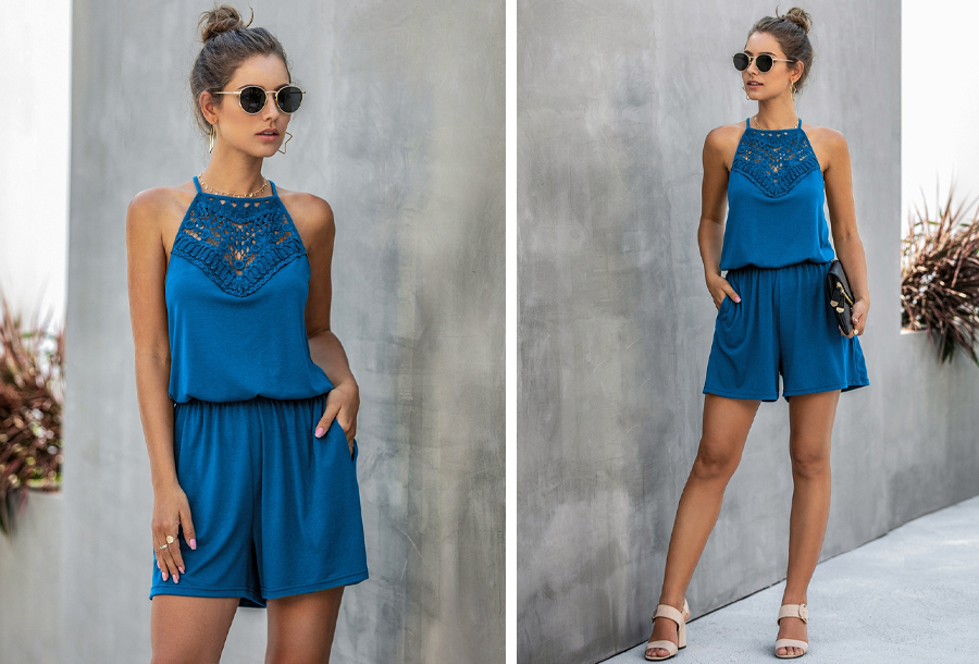 Stretchy playsuit - Maat M - Blauw