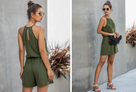 Stretchy playsuit | Korte jumpsuit met gehaakt detail Legergroen